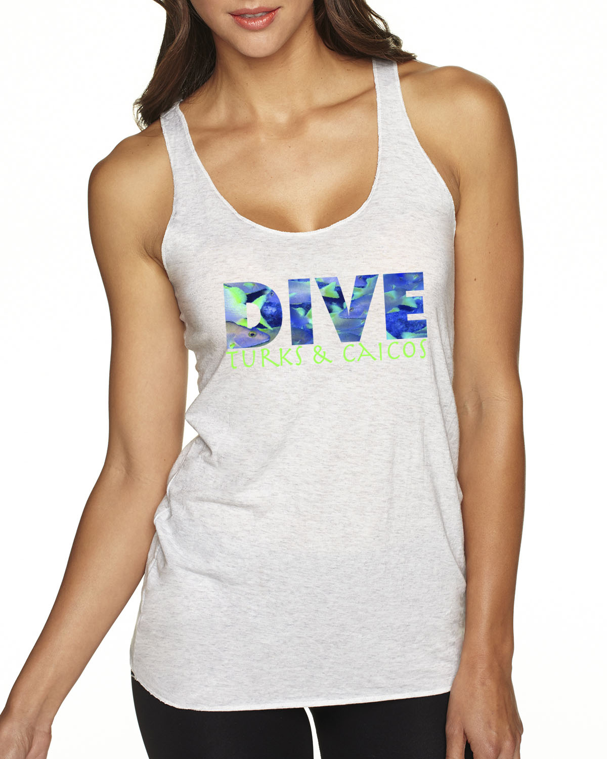 Racer-Back DIVE Turks & Caicos Tank Top (Heather White)