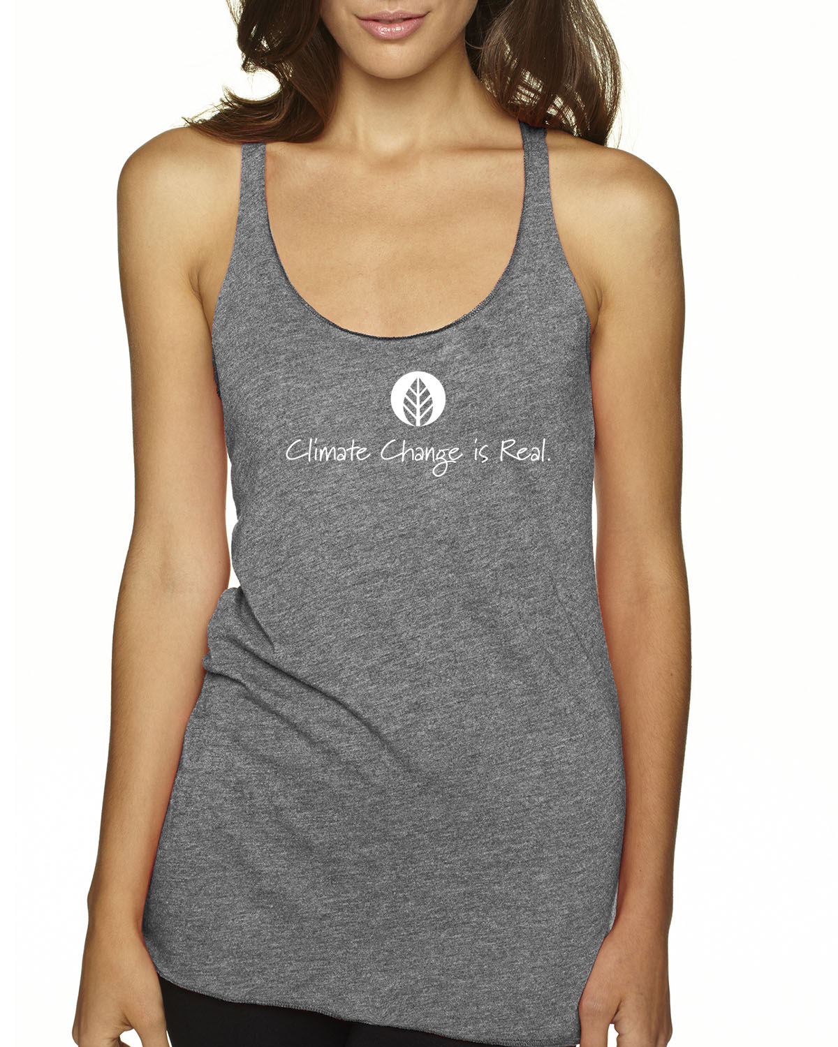 Tri-blend racer-back climate change environment tank top (Heather Gray)