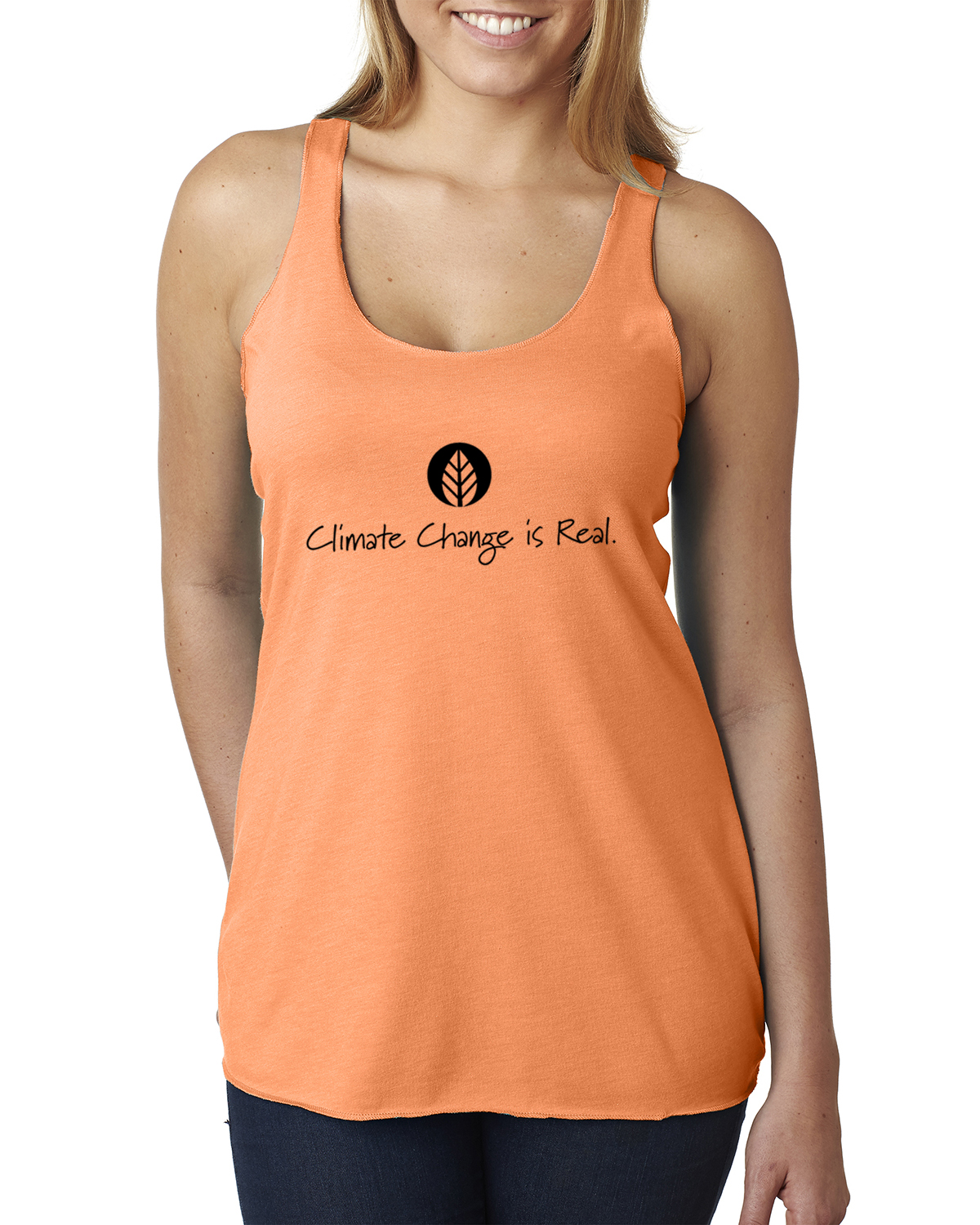 Tri-blend racer-back climate change environment tank top (Orange)