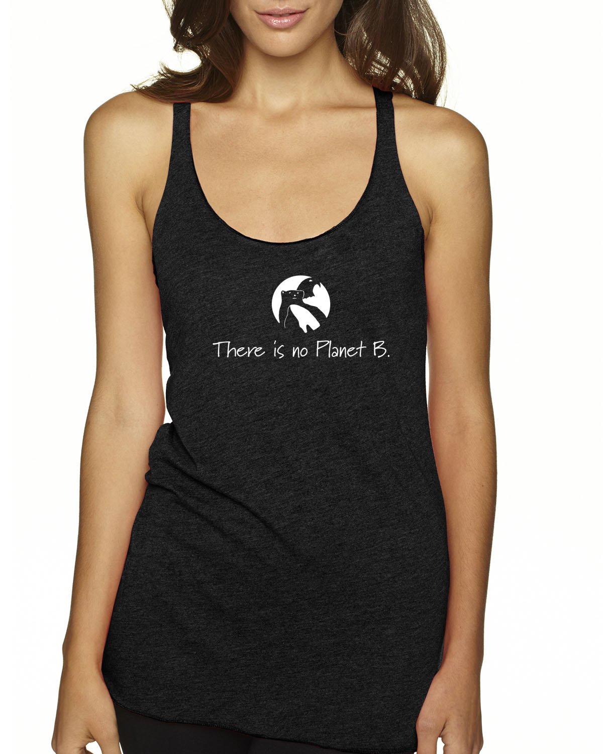 There is No Planet B tri-blend racer-back tank top (vintage black)