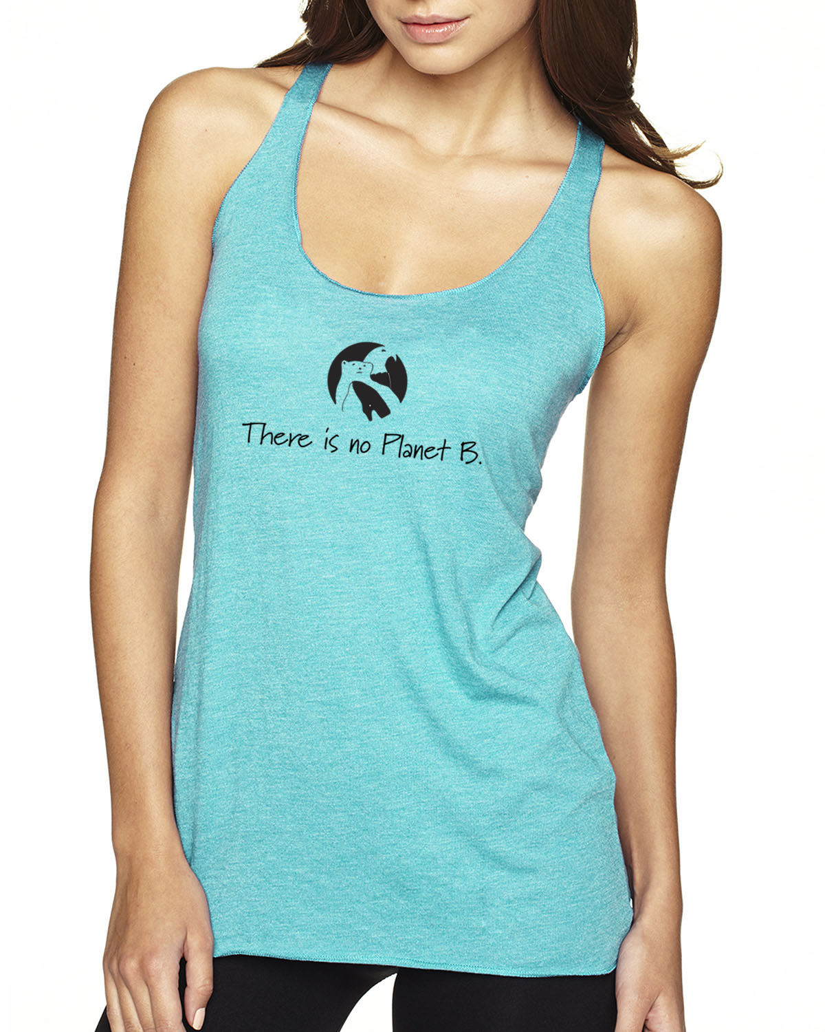 There is No Planet B tri-blend racer-back tank top (tahiti blue)