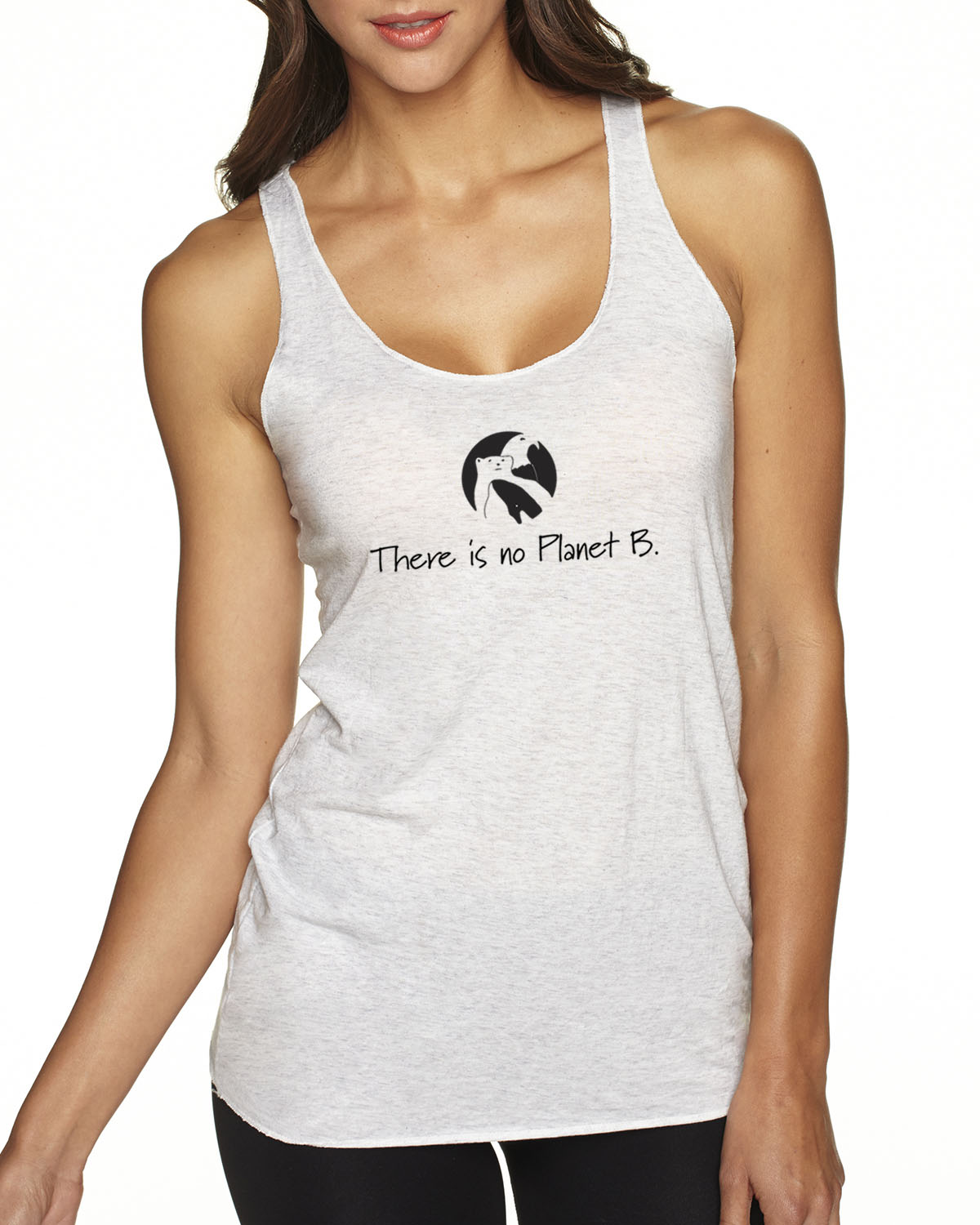 There is No Planet B tri-blend racer-back tank top (heather white)