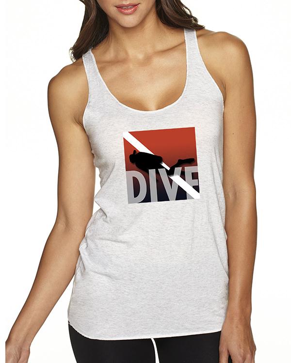 Women's Tri-blend racer-back DIVE scuba diving tank top (Heather White)