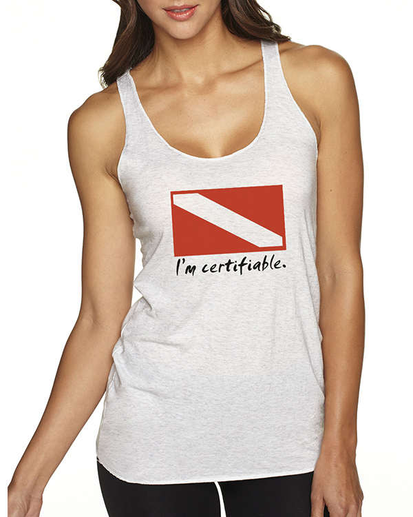 Women's Tri-blend racer-back scuba diving tank top (Heather White)