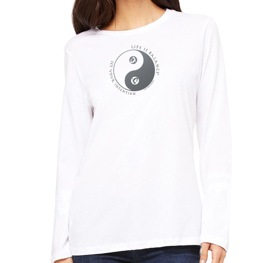 Women's Life is Balance�� Long Sleeve Yoga T-Shirt (White)