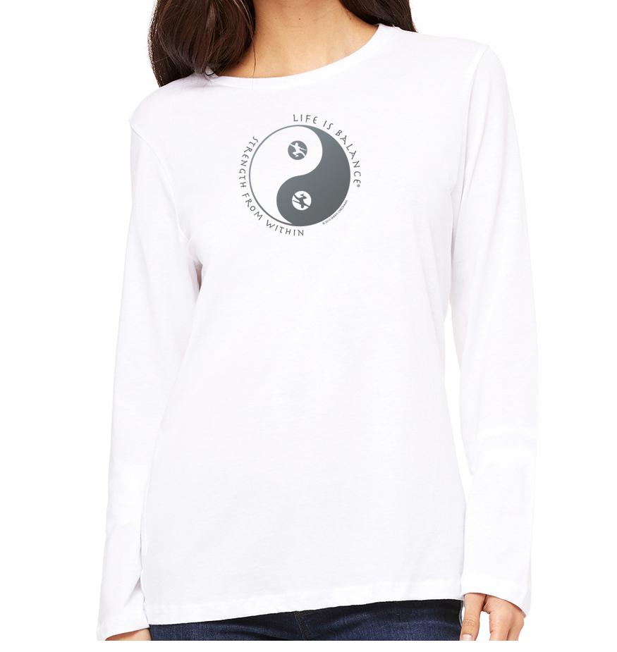 Long sleeve crew neck women's Tai Chi t-shirt (white)