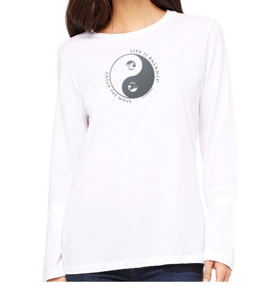 Women's long sleeve crew neck inspirational surfer t-shirt (White)