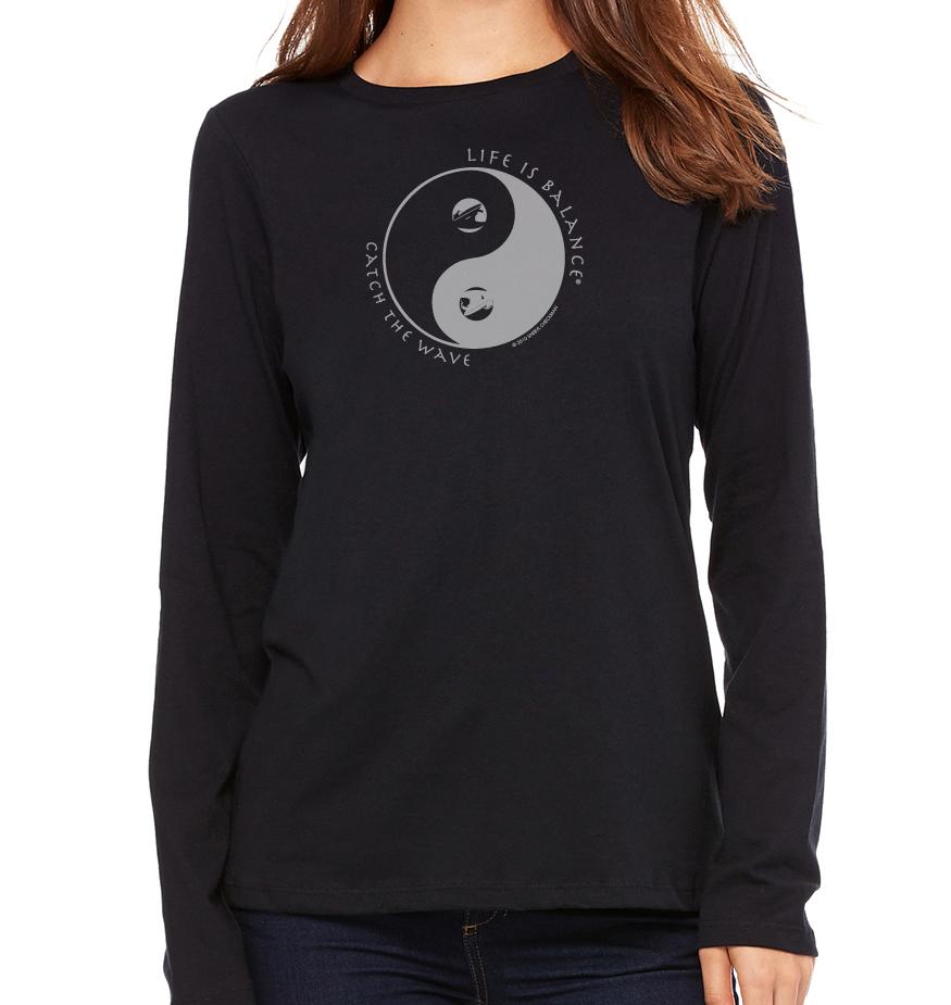 Women's long sleeve crew neck inspirational surfer t-shirt (Black)
