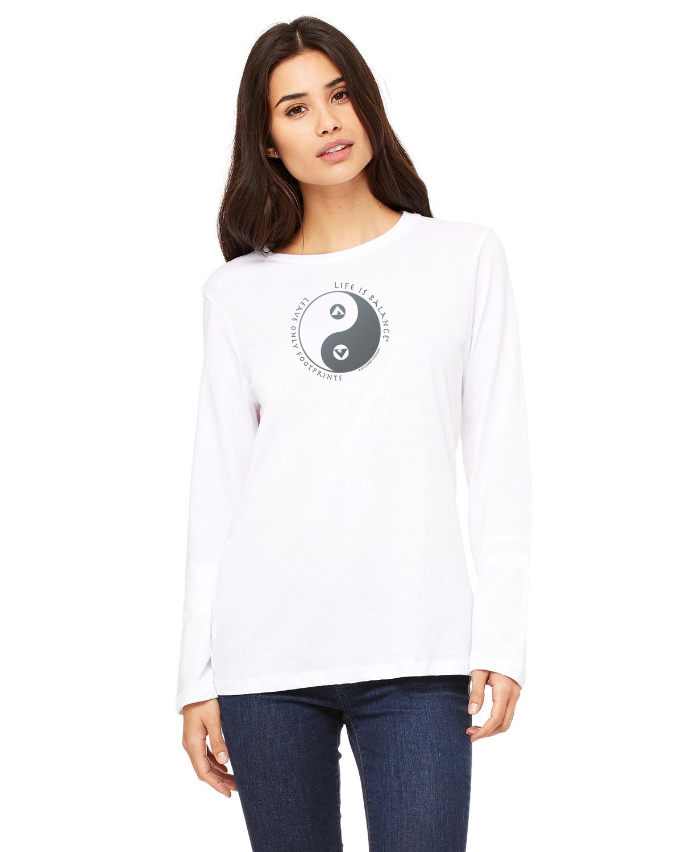 Women's long sleeve crew neck inspirational camping t-shirt (white/earth)