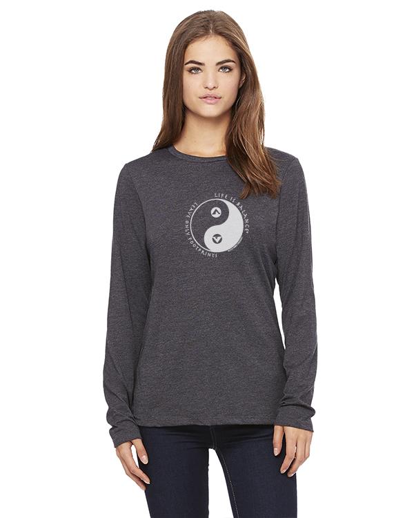 Women's long sleeve crew neck inspirational camping t-shirt (gray)