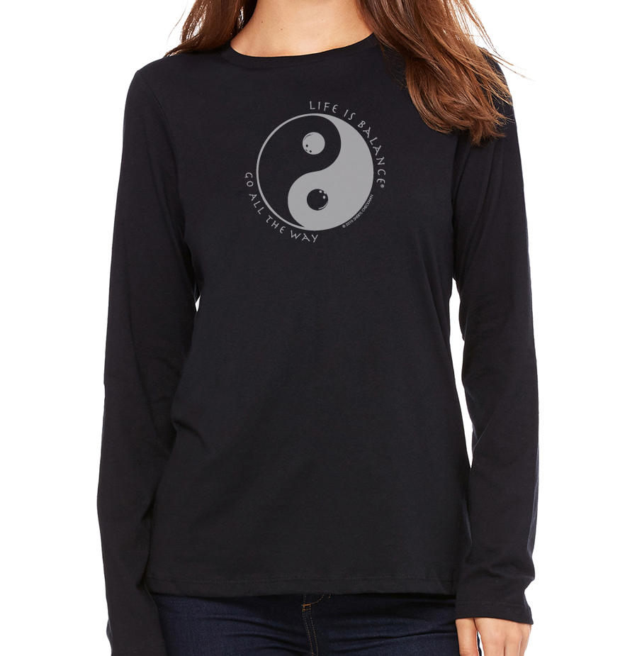 Women's long sleeve crew neck inspirational bowling t-shirt (black)
