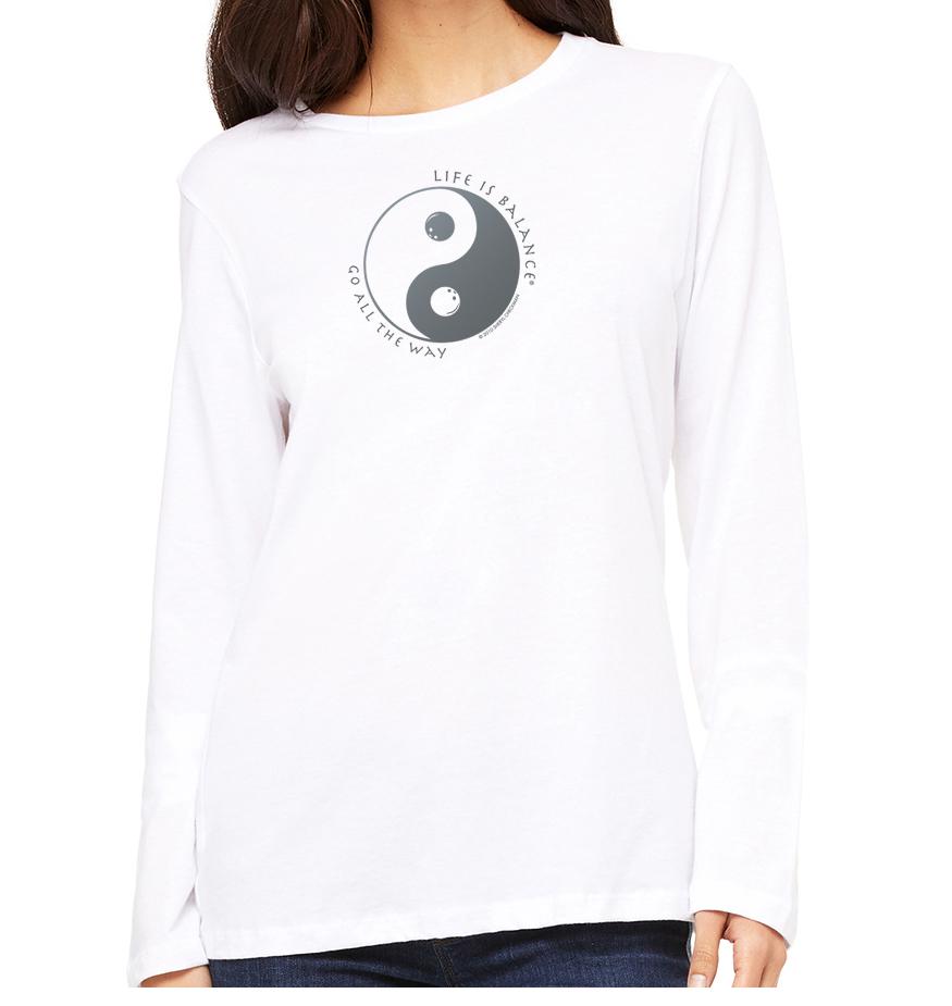Women's long sleeve crew neck inspirational bowling t-shirt (white)