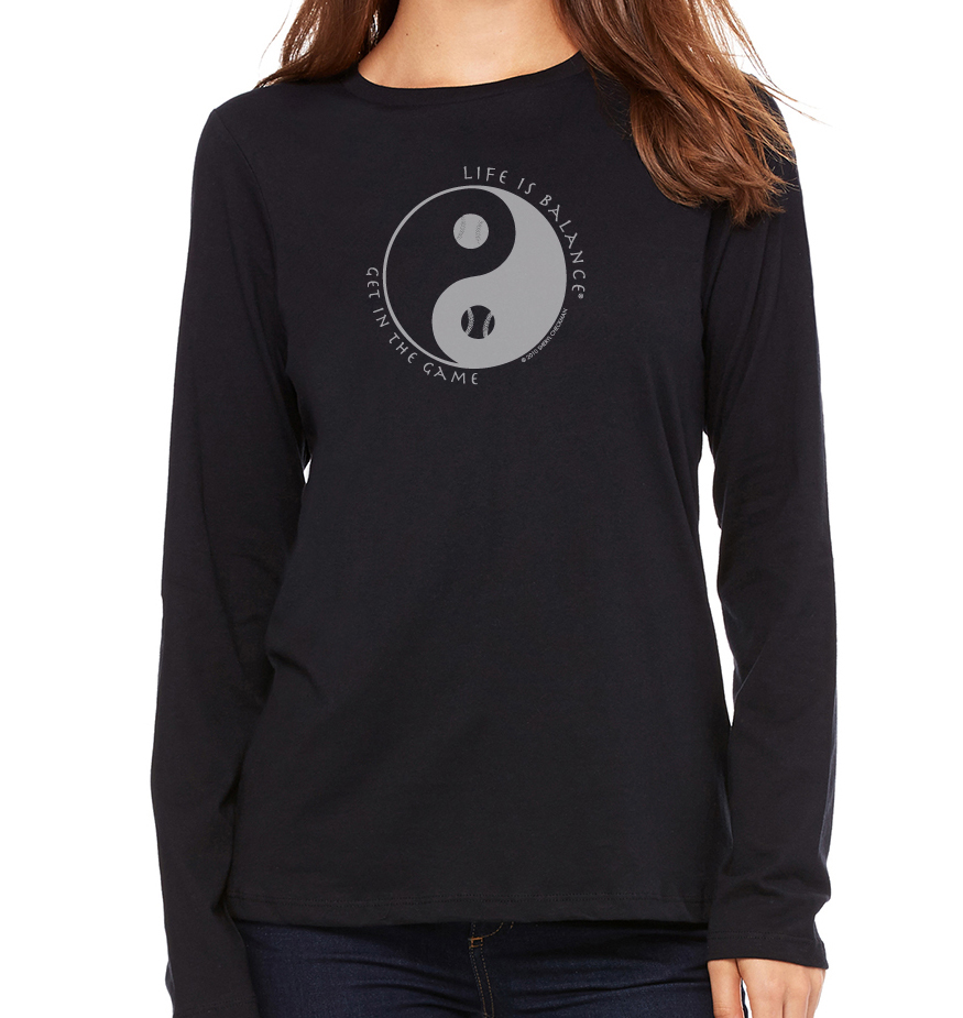 Women's long sleeve crew neck inspirational baseball/softball t-shirt (black)