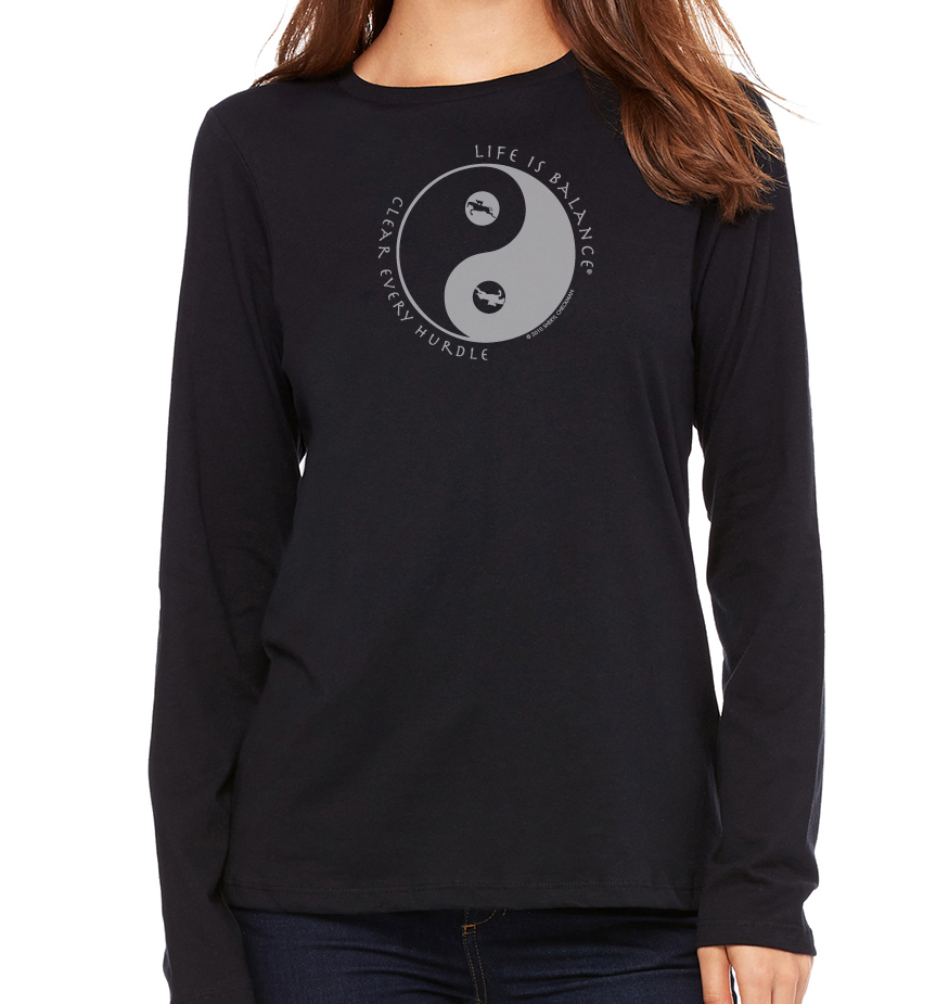 Women's long sleeve crew neck inspirational equestrian or horseback riding t-shirt (black)