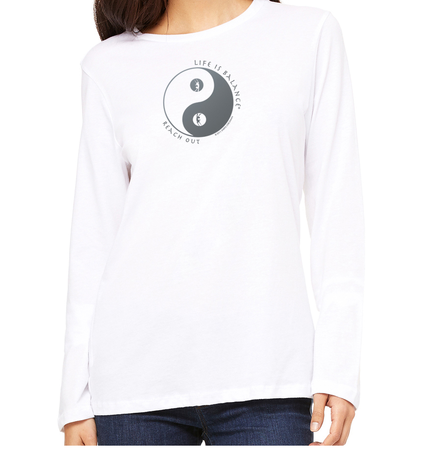 Women's long sleeve crew neck inspirational trapeze t-shirt (white)