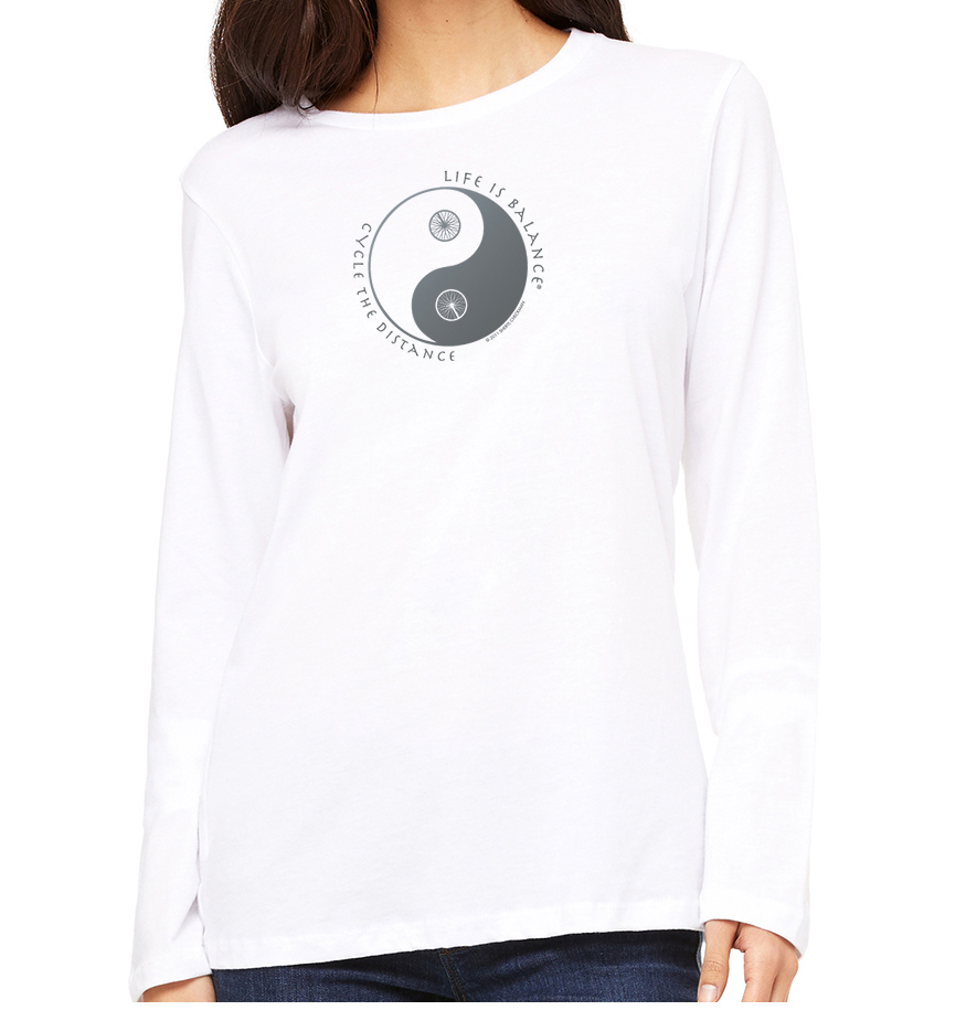Women's long sleeve crew neck inspirational biking or cycling t-shirt (white)