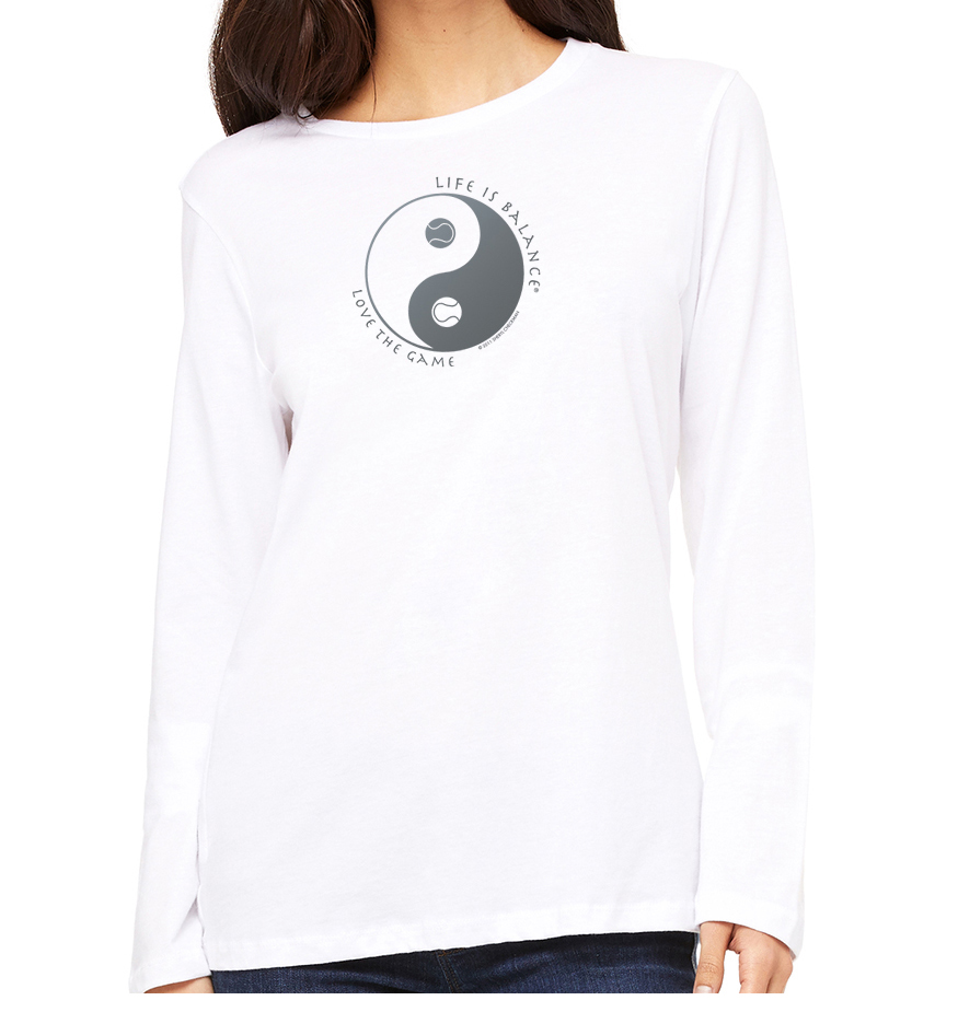 Women's long sleeve crew neck inspirational tennis t-shirt (white)