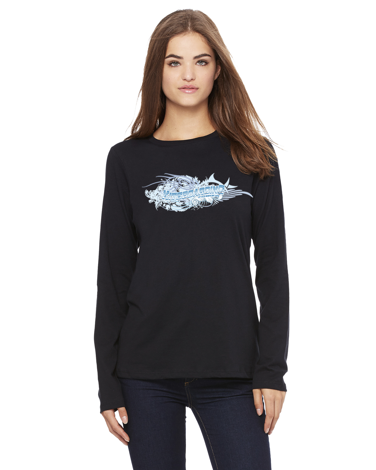 Women's Long Sleeve Kiteboarding ' its a way of Life T-Shirt (Black)