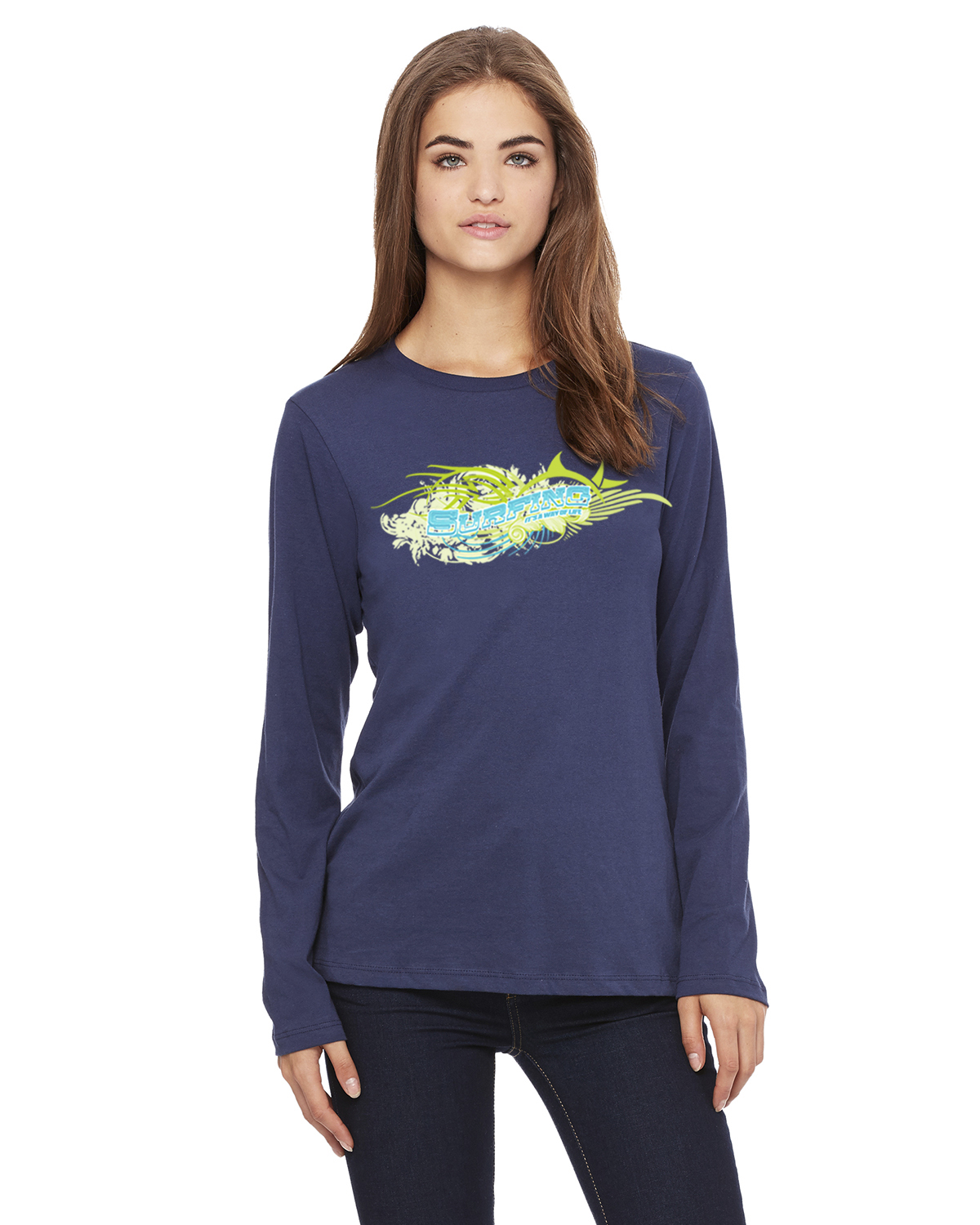 Women's Long Sleeve Surfing ' its a way of Life T-Shirt (Navy)