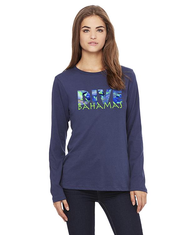 Women's Long Sleeve DIVE Bahamas T-Shirt (Navy)