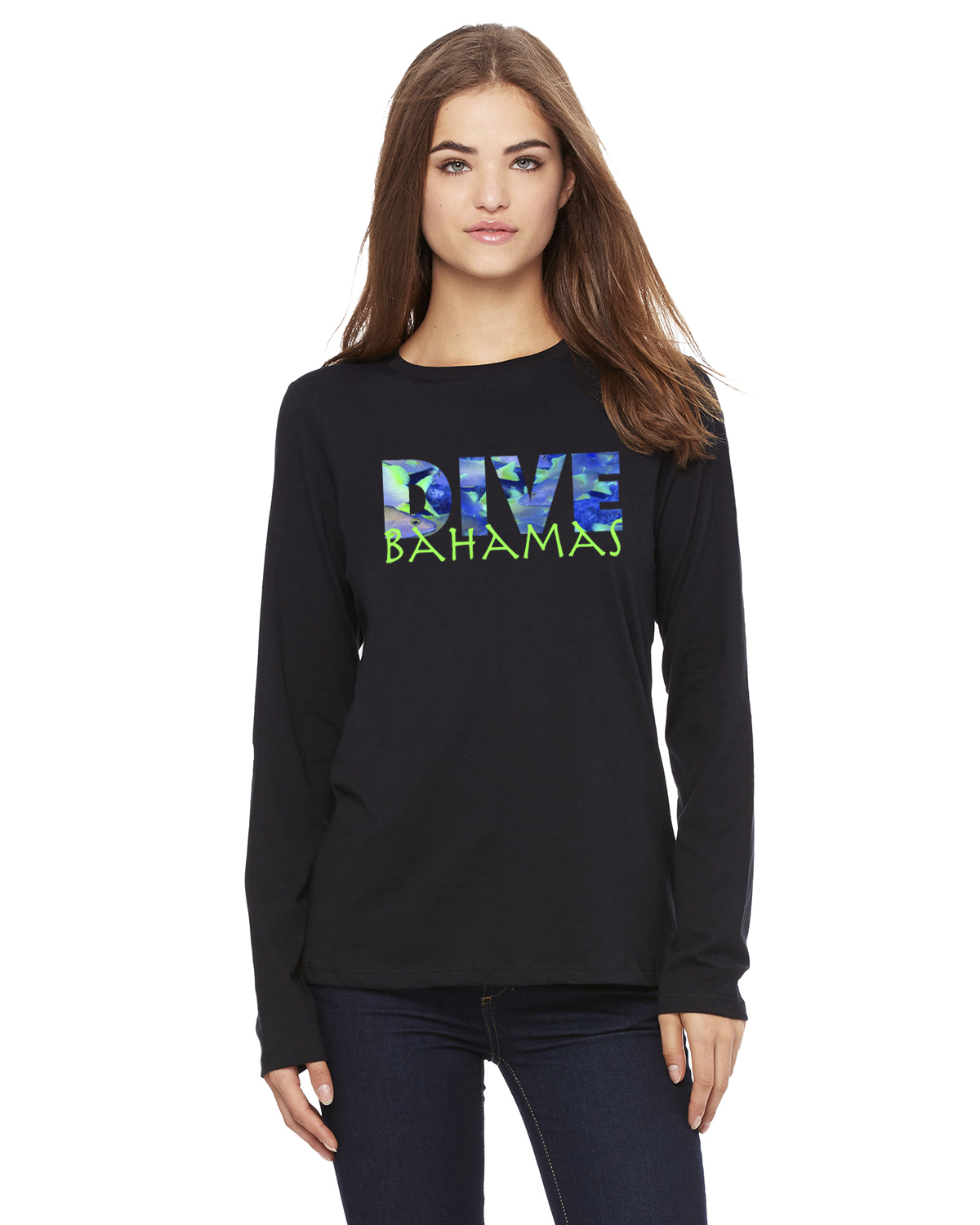 Women's Long Sleeve DIVE Bahamas T-Shirt (Black)