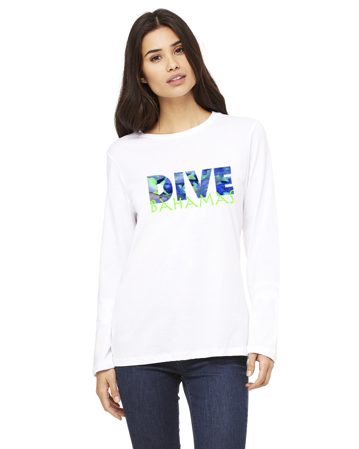Women's Long Sleeve DIVE Bahamas T-Shirt (White)