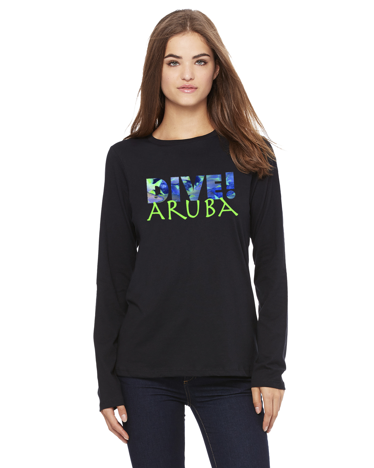 Women's Long Sleeve DIVE Aruba T-Shirt (Black)