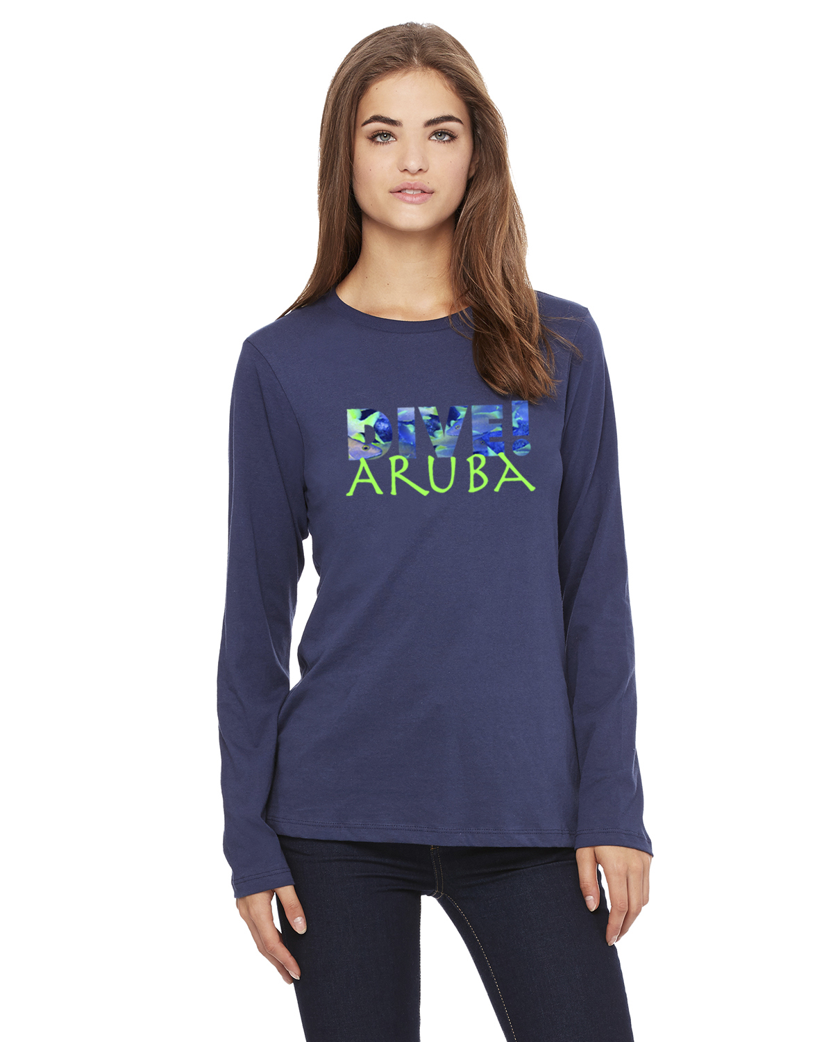 Women's Long Sleeve DIVE Aruba T-Shirt (Navy)