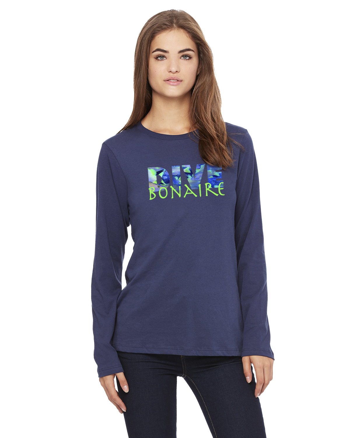 Women's Long Sleeve DIVE Bonaire T-Shirt (Navy)