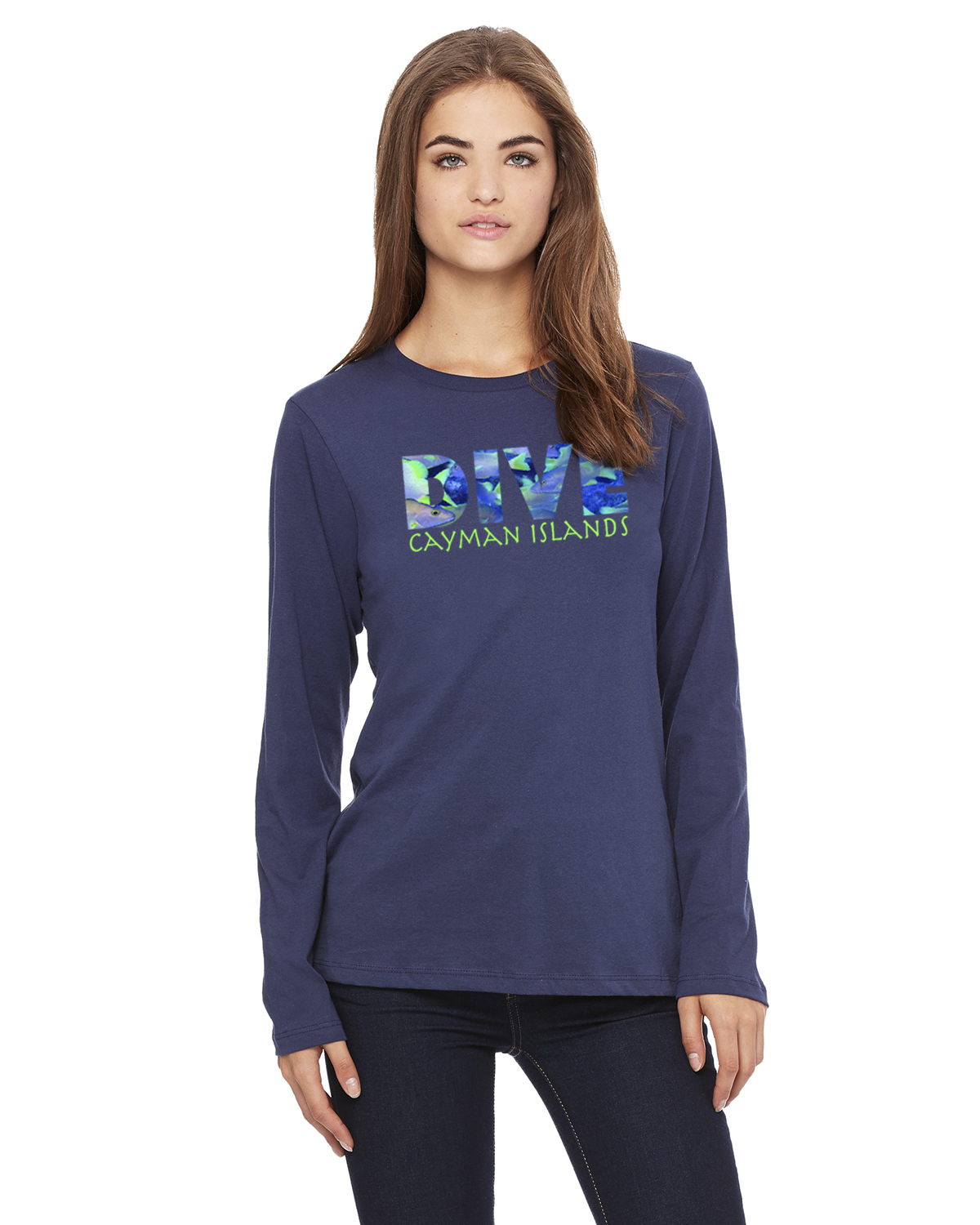 Women's Long Sleeve DIVE Cayman Islands T-Shirt (Navy)