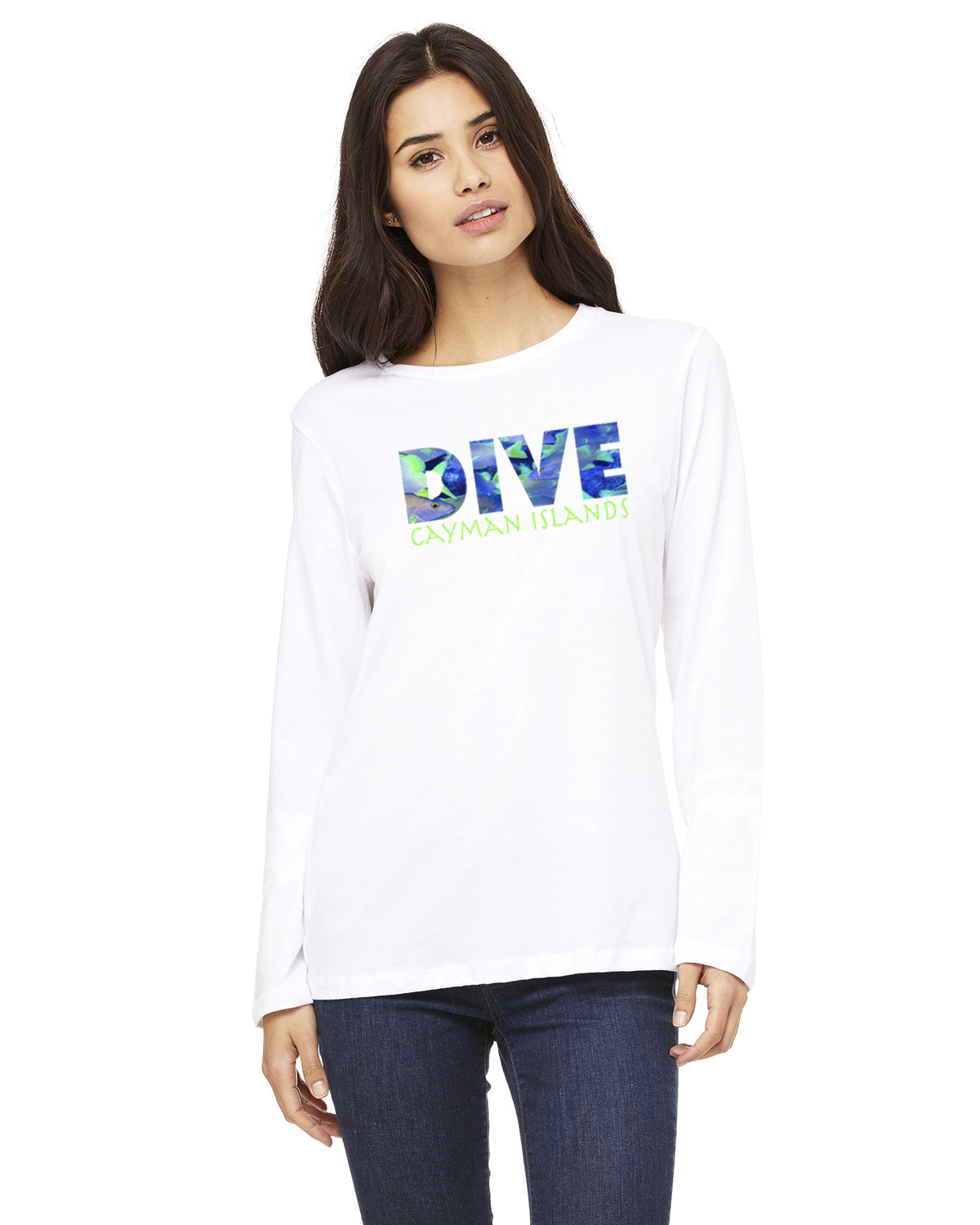 Women's Long Sleeve DIVE Cayman Islands T-Shirt (White)
