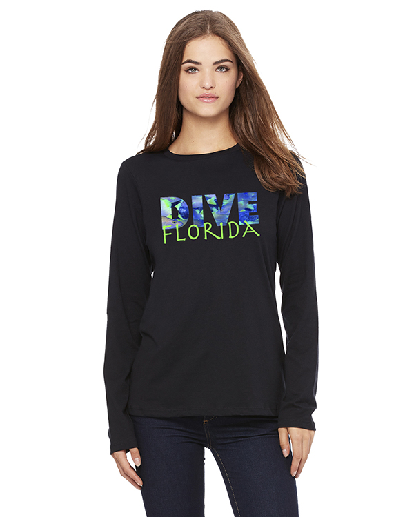Women's Long Sleeve DIVE Hawaii T-Shirt (Navy)