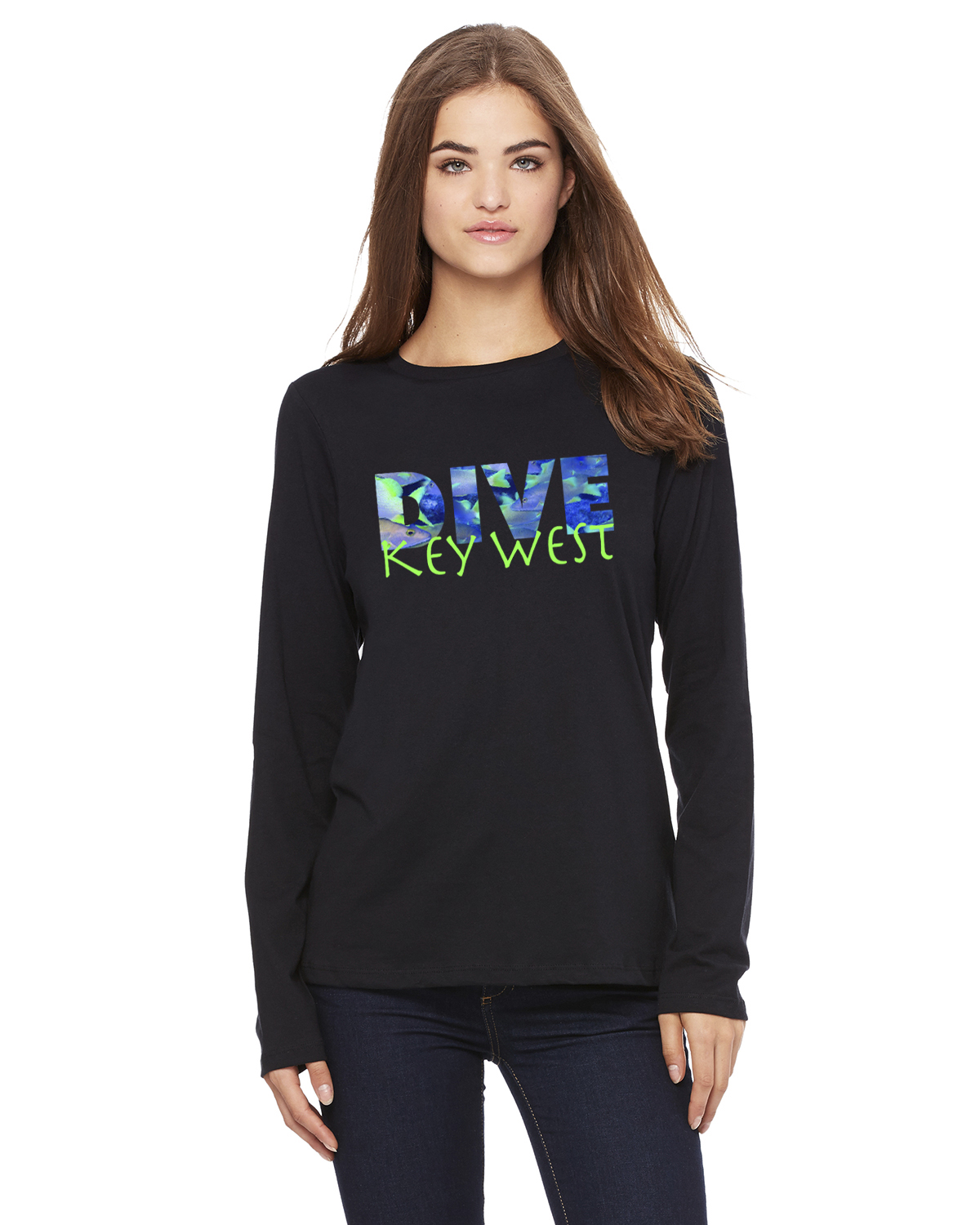 Women's Long Sleeve DIVE Key West T-Shirt (Black)