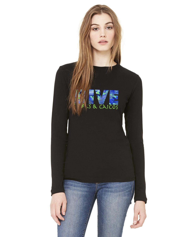 Women's Long Sleeve DIVE Turks & Caicos T-Shirt (Black)