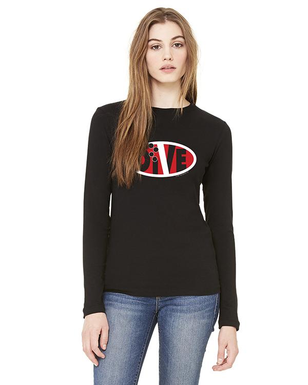Women's Long Sleeve DIVE Oval Life T-Shirt (Black)