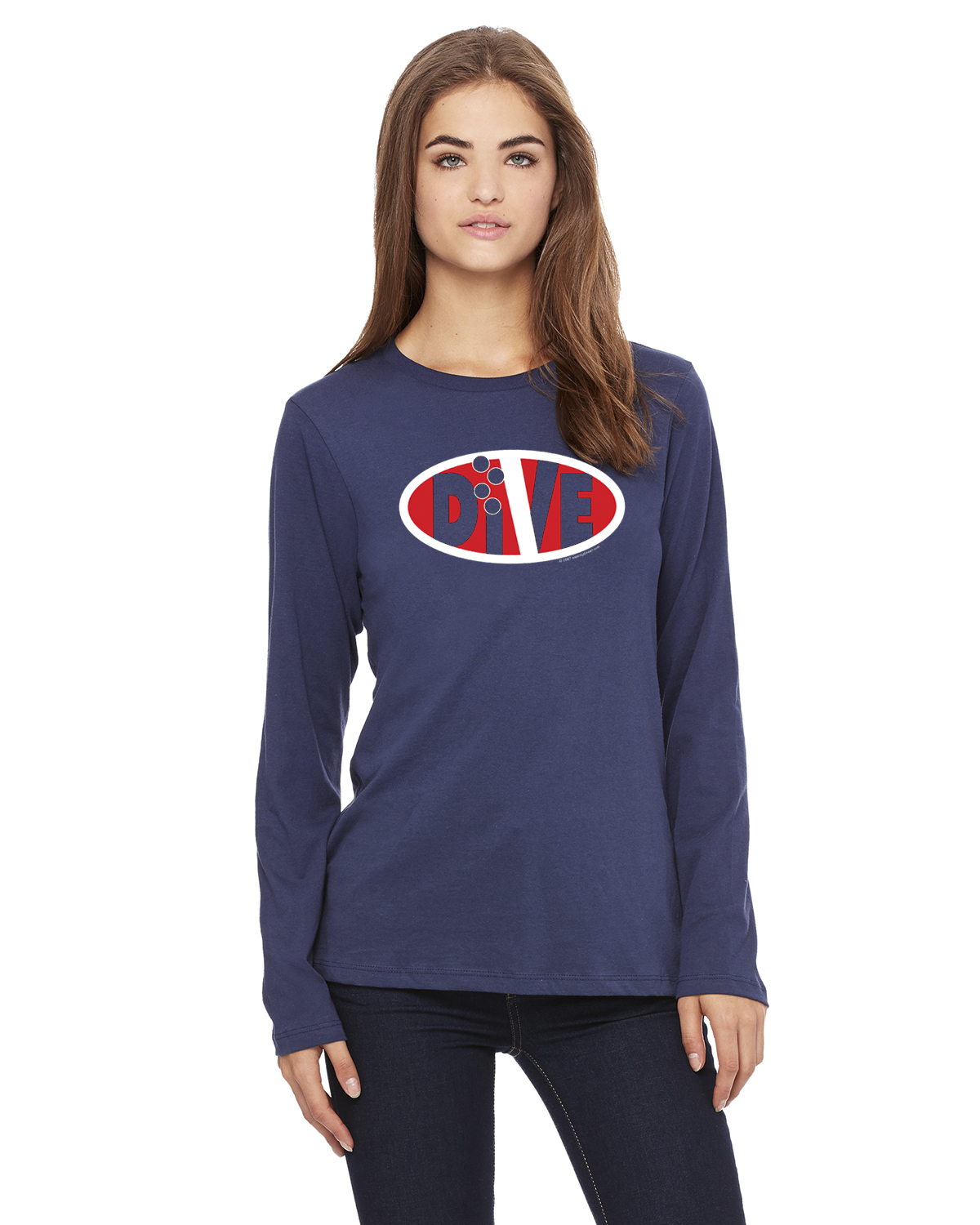 Women's Long Sleeve DIVE Oval Life T-Shirt (Navy)