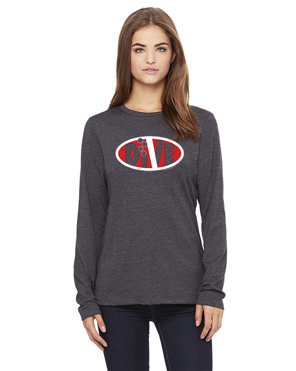 Women's Long Sleeve DIVE Oval Life T-Shirt (gray)