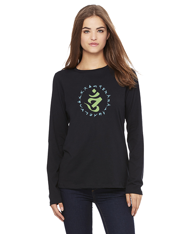 Women's Long Sleeve Om Circle of Yoga Poses T-Shirt (Black)