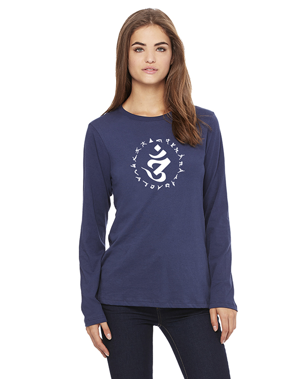 Women's Long Sleeve Om Circle of Yoga Poses T-Shirt (Navy)