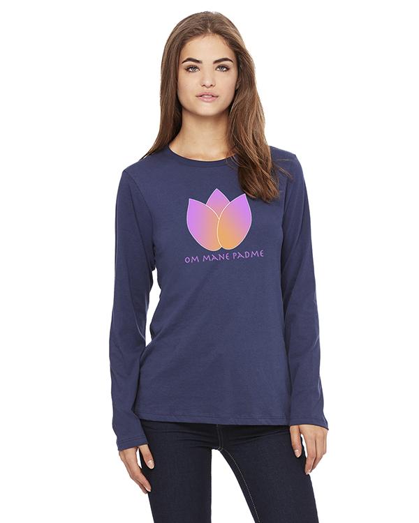 Women's Long Sleeve Lotus Flower Yoga T-Shirt (Navy)