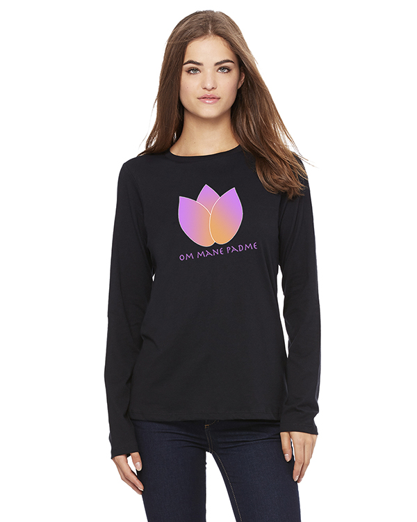 Women's Long Sleeve Lotus Flower Yoga T-Shirt (Black)