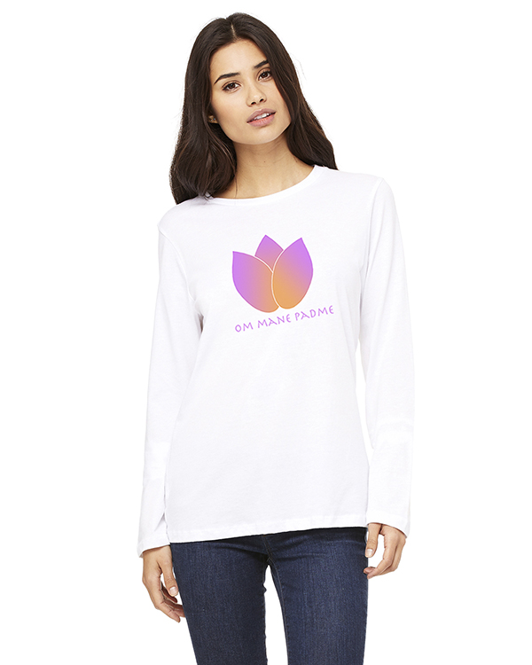 Women's Long Sleeve Lotus Flower Yoga T-Shirt (WHite)