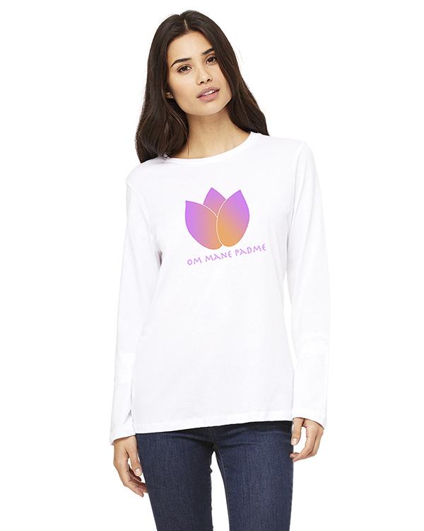 Women's Long Sleeve Lotus Flower Yoga T-Shirt (WHite)