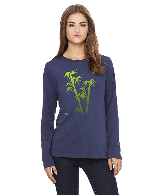 Women's Long Sleeve Bamboo Hope Yoga T-Shirt (Navy)
