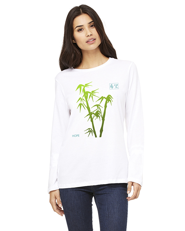 Women's Long Sleeve Bamboo Hope Yoga T-Shirt (White)
