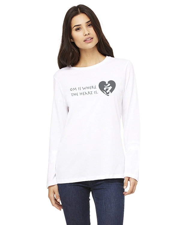 Women's Long Sleeve OM is Where the Heart is Yoga T-Shirt (White)
