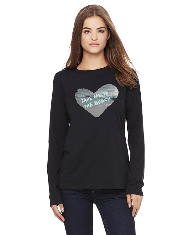 Women's Long Sleeve Take Me to the Beach T-Shirt (Black)