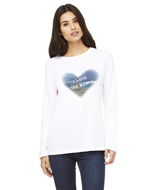 Women's Long Sleeve I Love the Beach T-Shirt (White)