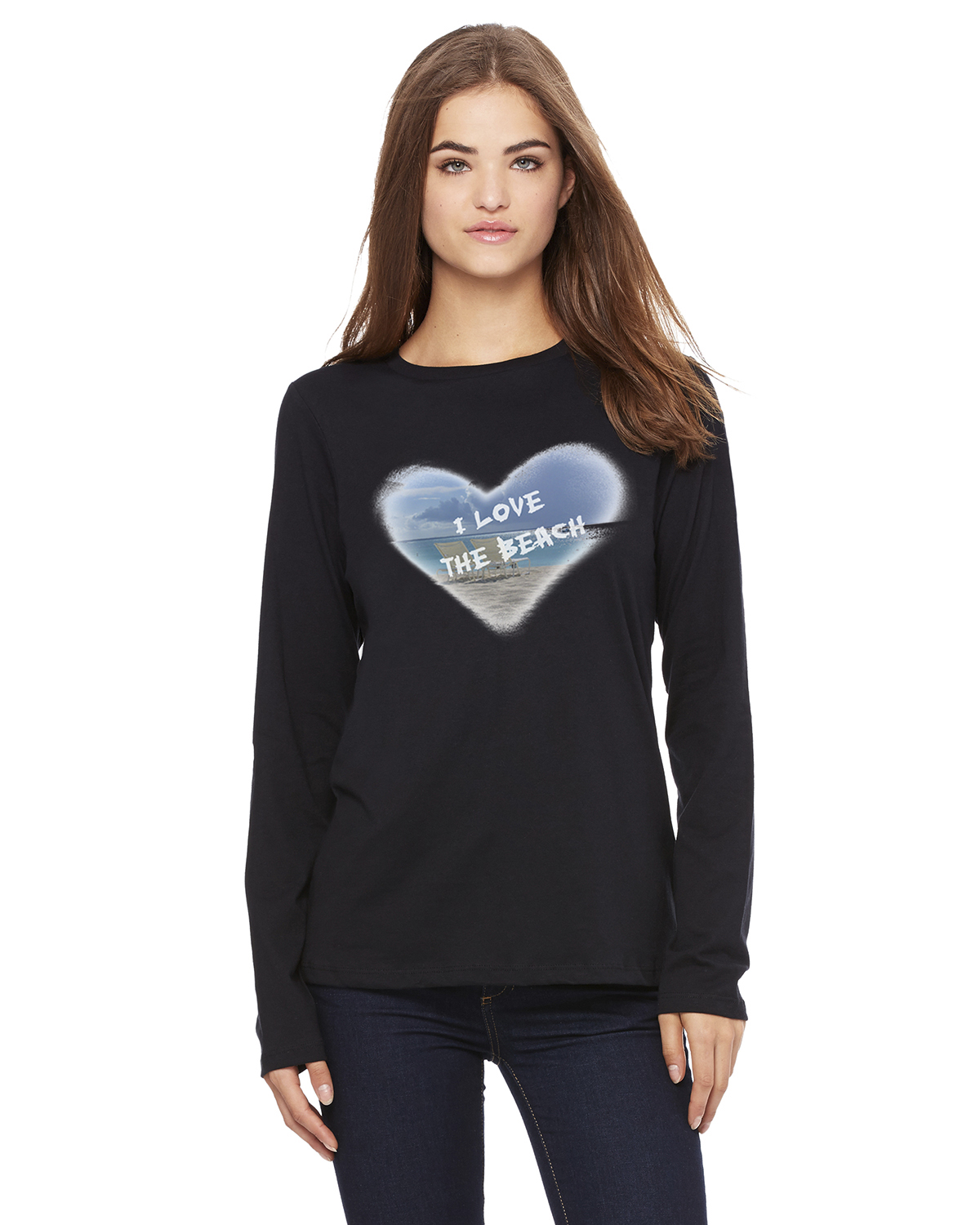 Women's Long Sleeve I Love the Beach T-Shirt (Black)