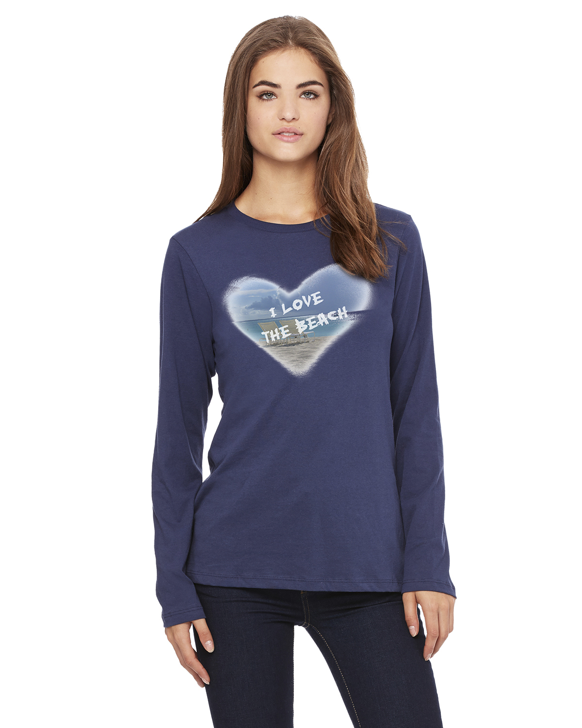 Women's Long Sleeve I Love the Beach T-Shirt (Navy)